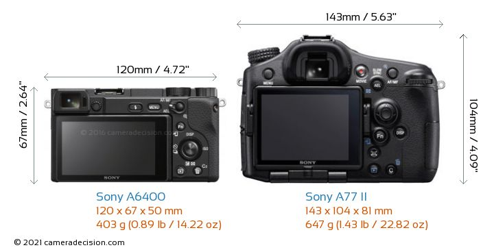 Sony A6400 vs Sony A77 II Camera Size Comparison - Back View