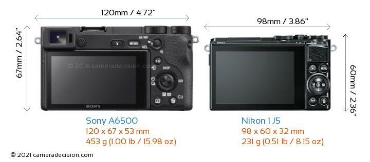 Sony A6500 vs Nikon 1 J5 Camera Size Comparison - Back View