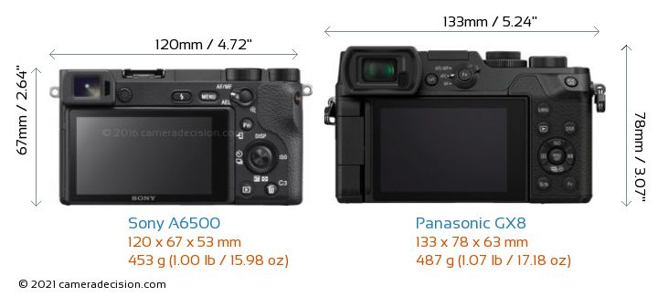 Sony A6500 vs Panasonic GX8 Camera Size Comparison - Back View