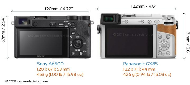 Sony A6500 vs Panasonic GX85 Camera Size Comparison - Back View
