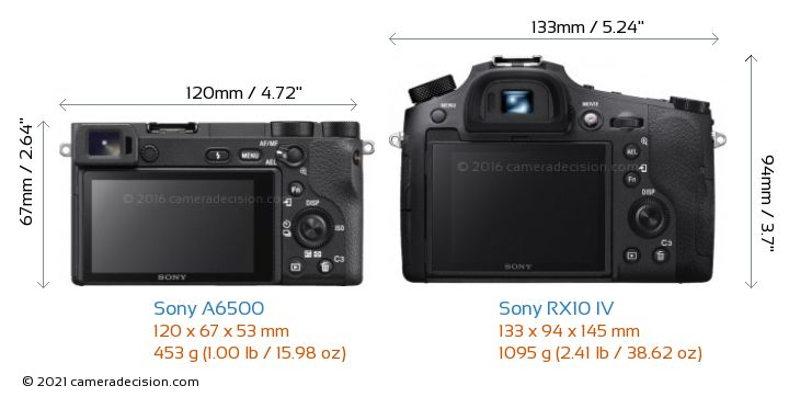 Sony A6500 vs Sony RX10 IV Camera Size Comparison - Back View
