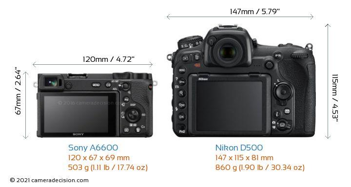 Sony A6600 vs Nikon D500 Camera Size Comparison - Back View