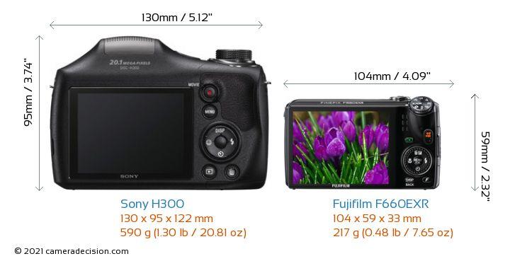 Sony H300 vs Fujifilm F660EXR Camera Size Comparison - Back View