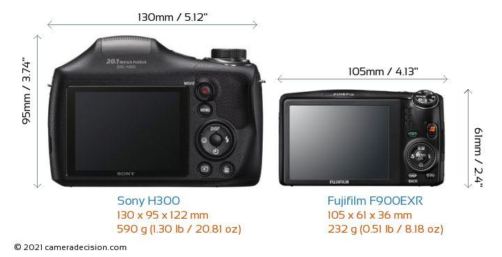 Sony H300 vs Fujifilm F900EXR Camera Size Comparison - Back View