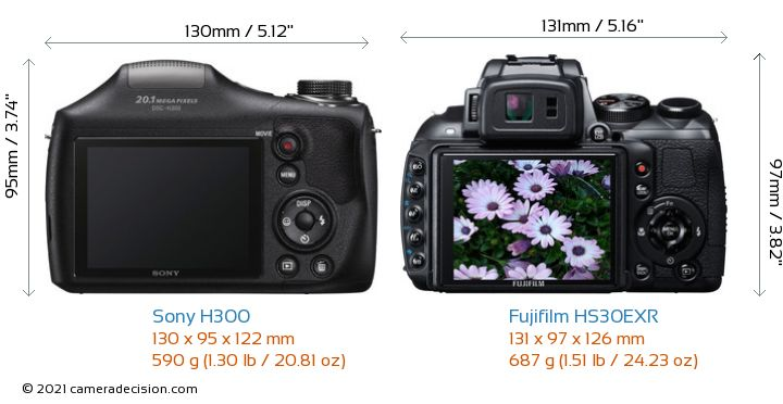 Sony H300 vs Fujifilm HS30EXR Camera Size Comparison - Back View