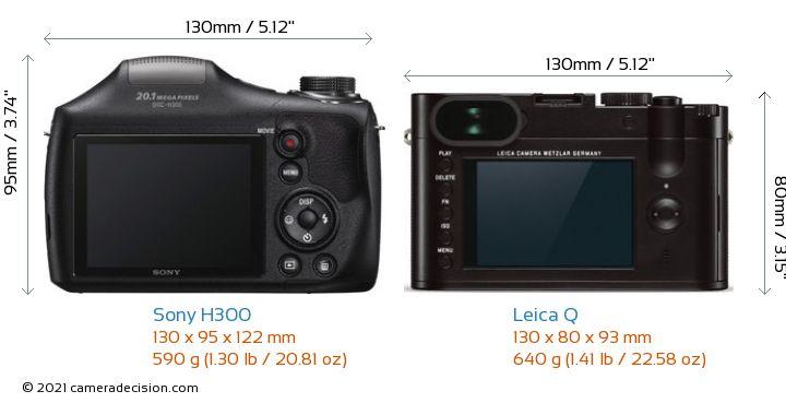 Sony H300 vs Leica Q Camera Size Comparison - Back View