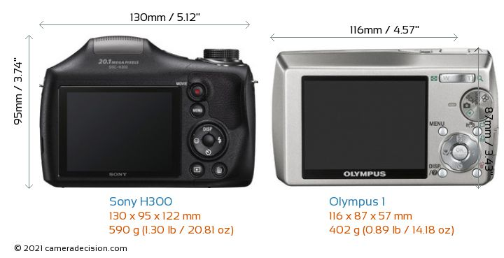 Sony H300 vs Olympus 1 Camera Size Comparison - Back View