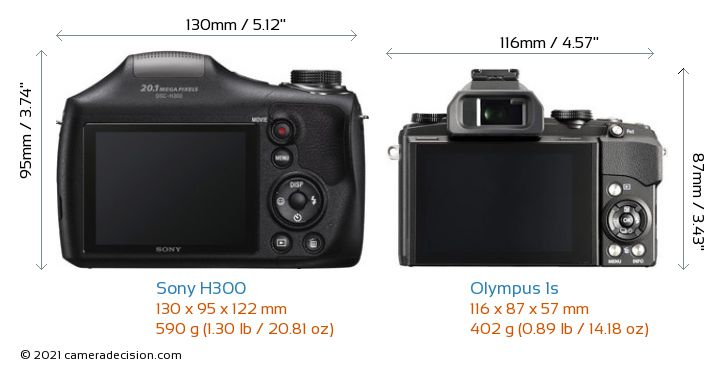 Sony H300 vs Olympus 1s Camera Size Comparison - Back View