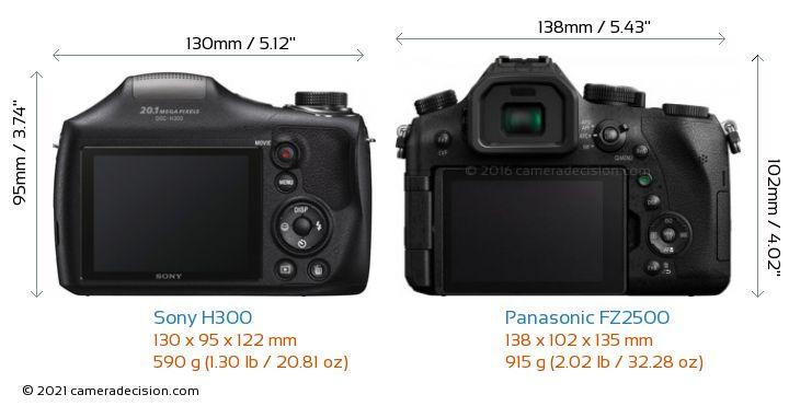 Sony H300 vs Panasonic FZ2500 Camera Size Comparison - Back View