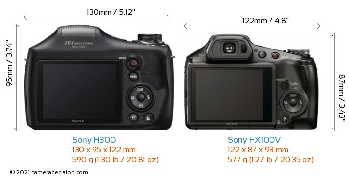 Sony H300 vs Sony HX100V Camera Size Comparison - Back View