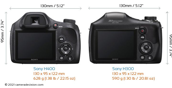 Sony H400 vs Sony H300 Camera Size Comparison - Back View