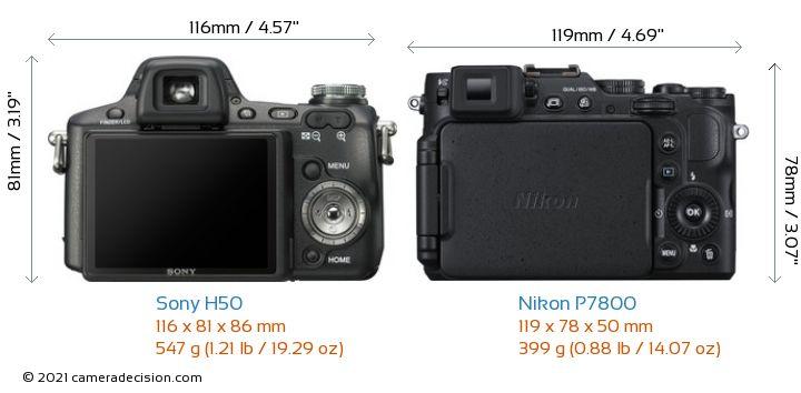 Sony H50 vs Nikon P7800 Camera Size Comparison - Back View