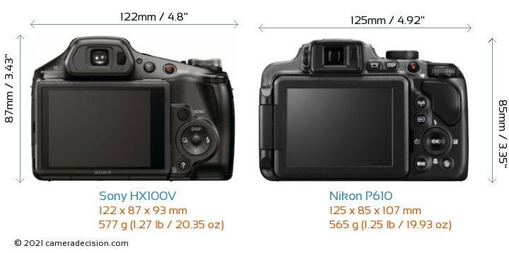 Sony HX100V vs Nikon P610 Camera Size Comparison - Back View