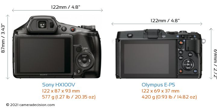 Sony HX100V vs Olympus E-P5 Camera Size Comparison - Back View