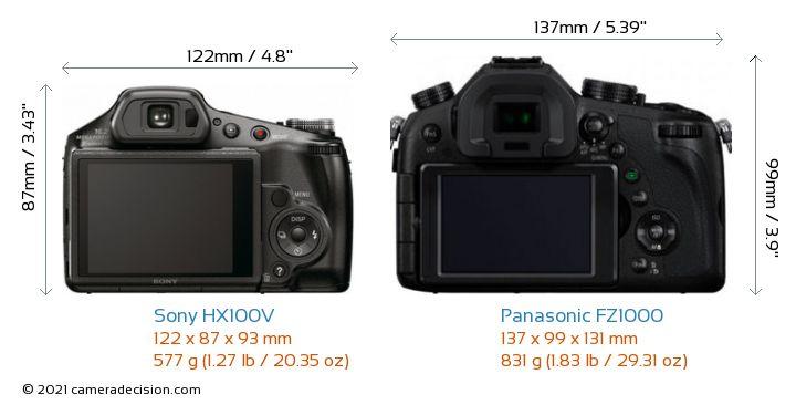 Sony HX100V vs Panasonic FZ1000 Camera Size Comparison - Back View