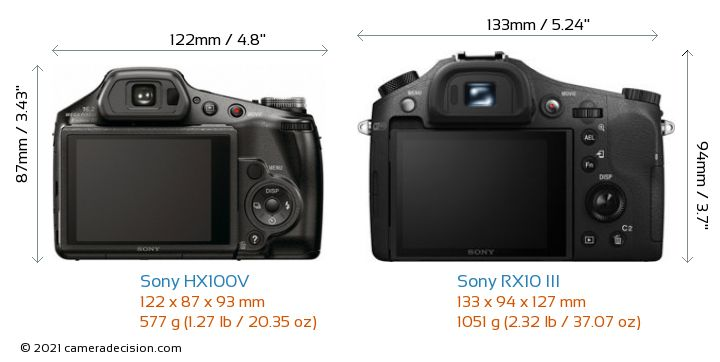 Sony HX100V vs Sony RX10 III Camera Size Comparison - Back View