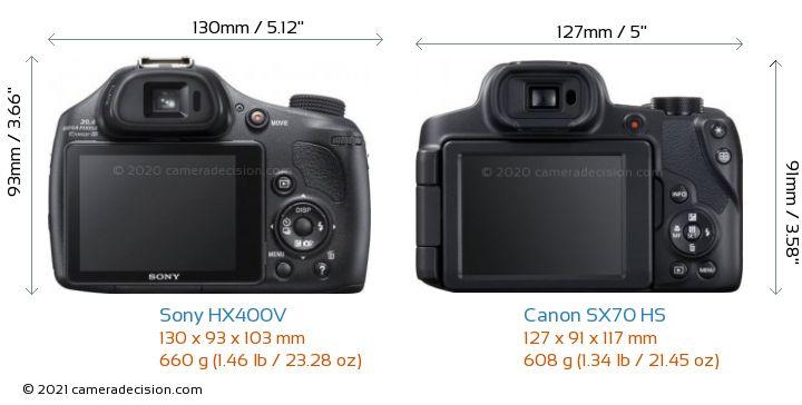 Sony HX400V vs Canon SX70 HS Camera Size Comparison - Back View