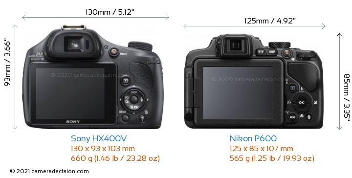 Sony HX400V vs Nikon P600 Camera Size Comparison - Back View