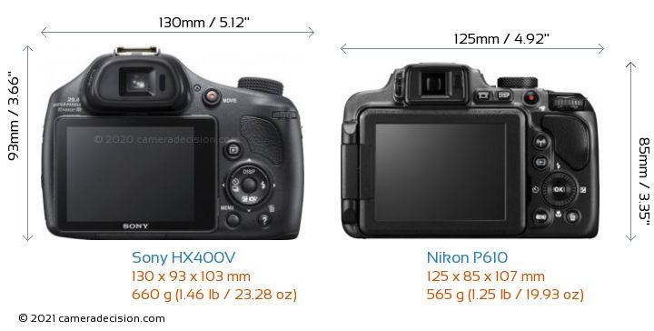 Sony HX400V vs Nikon P610 Camera Size Comparison - Back View