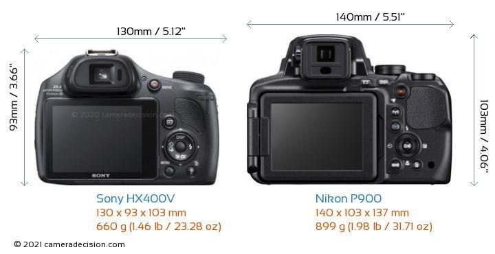 Sony HX400V vs Nikon P900 Camera Size Comparison - Back View