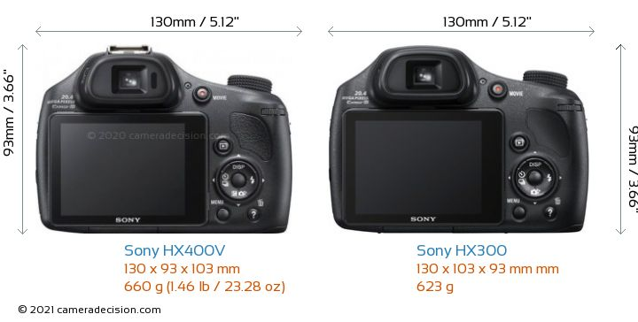 Sony HX400V vs Sony HX300 Camera Size Comparison - Back View