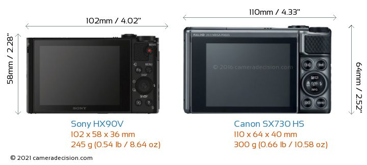 Sony HX90V vs Canon SX730 HS Camera Size Comparison - Back View