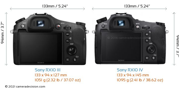 Sony RX10 III vs Sony RX10 IV Camera Size Comparison - Back View
