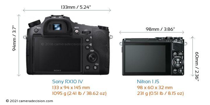 Sony RX10 IV vs Nikon 1 J5 Camera Size Comparison - Back View