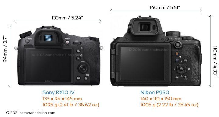 Sony RX10 IV vs Nikon P950 Camera Size Comparison - Back View