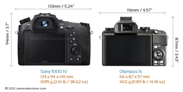 Sony RX10 IV vs Olympus 1s Camera Size Comparison - Back View