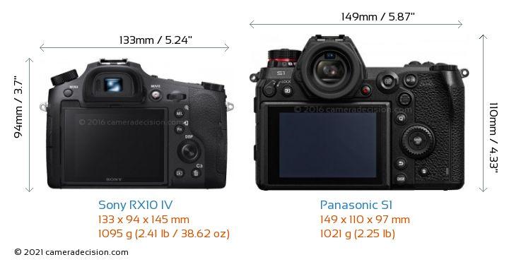 Sony RX10 IV vs Panasonic S1 Camera Size Comparison - Back View