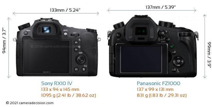 Sony RX10 IV vs Panasonic FZ1000 Camera Size Comparison - Back View