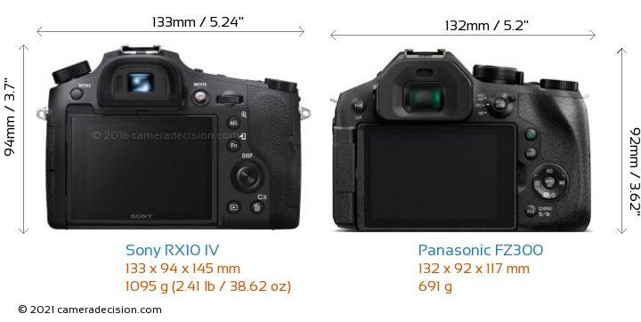 Sony RX10 IV vs Panasonic FZ300 Camera Size Comparison - Back View