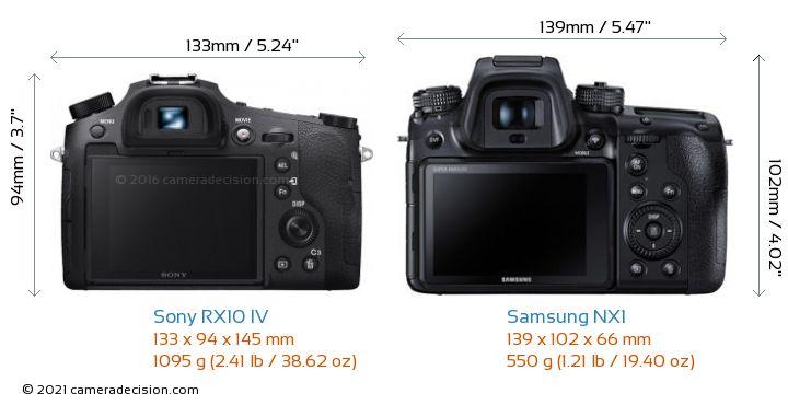 Sony RX10 IV vs Samsung NX1 Camera Size Comparison - Back View