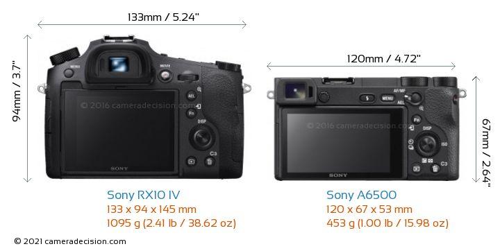 Sony RX10 IV vs Sony A6500 Camera Size Comparison - Back View