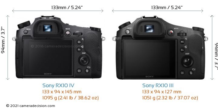 Sony RX10 IV vs Sony RX10 III Camera Size Comparison - Back View