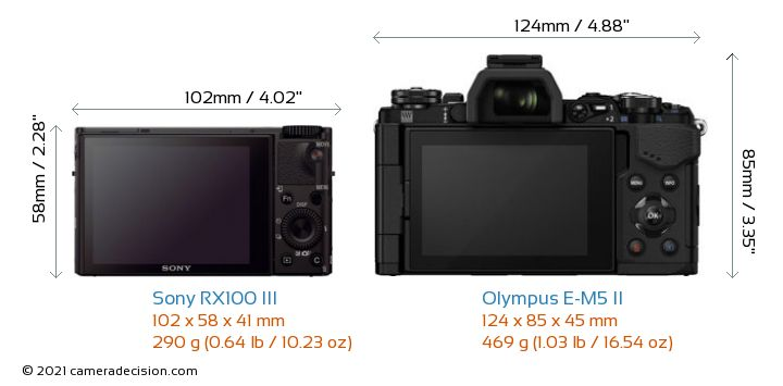 Sony RX100 III vs Olympus E-M5 II Camera Size Comparison - Back View