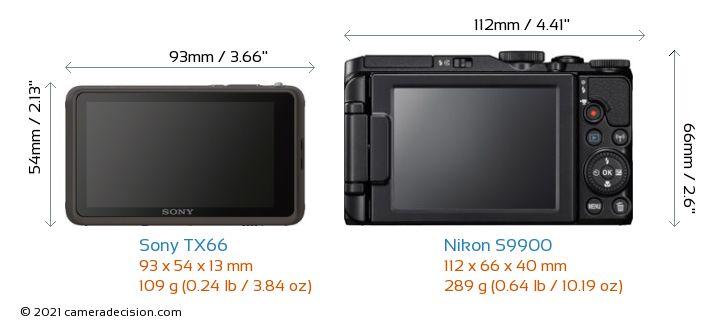 Sony TX66 vs Nikon S9900 Camera Size Comparison - Back View
