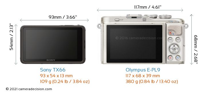 Sony TX66 vs Olympus E-PL9 Camera Size Comparison - Back View