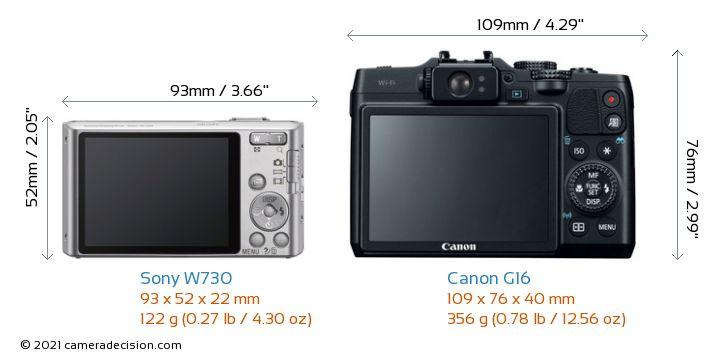 Sony W730 vs Canon G16 Camera Size Comparison - Back View