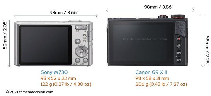Sony W730 vs Canon G9 X II Camera Size Comparison - Back View