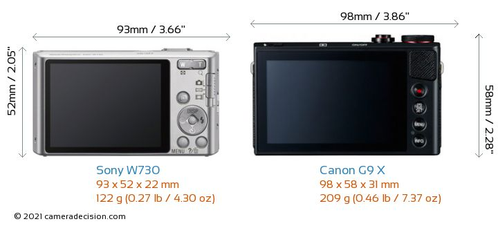 Sony W730 vs Canon G9 X Camera Size Comparison - Back View