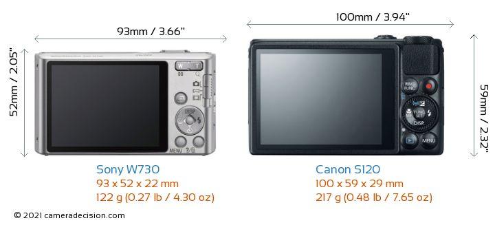Sony W730 vs Canon S120 Camera Size Comparison - Back View