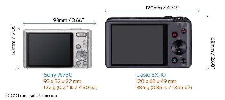 Sony W730 vs Casio EX-10 Camera Size Comparison - Back View