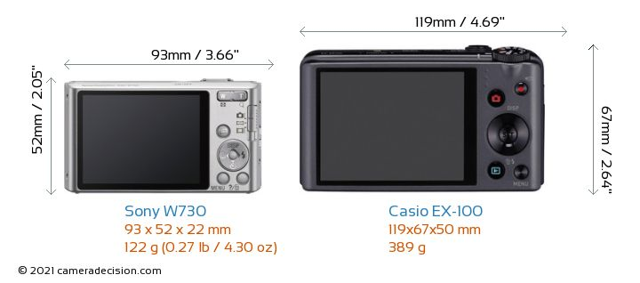 Sony W730 vs Casio EX-100 Camera Size Comparison - Back View