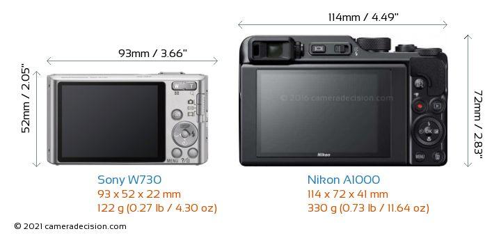 Sony W730 vs Nikon A1000 Camera Size Comparison - Back View