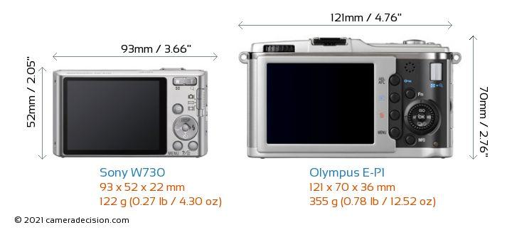 Sony W730 vs Olympus E-P1 Camera Size Comparison - Back View