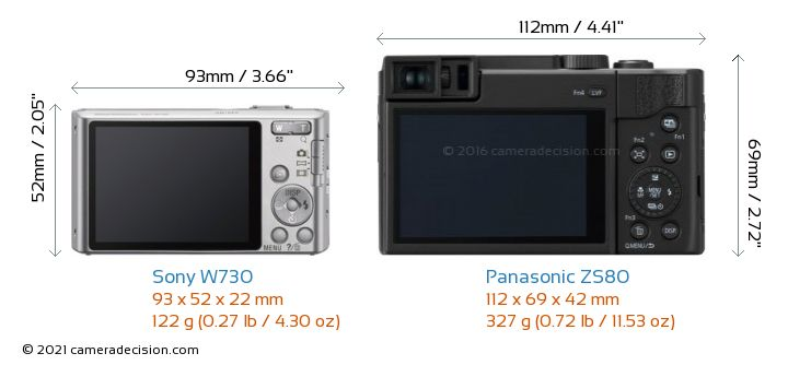 Sony W730 vs Panasonic ZS80 Camera Size Comparison - Back View