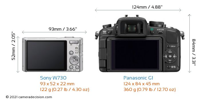 Sony W730 vs Panasonic G1 Camera Size Comparison - Back View
