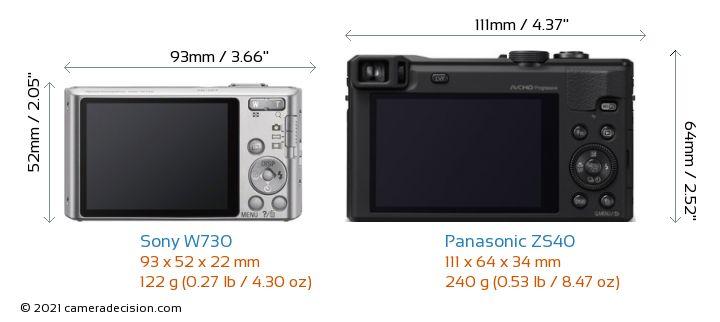 Sony W730 vs Panasonic ZS40 Camera Size Comparison - Back View